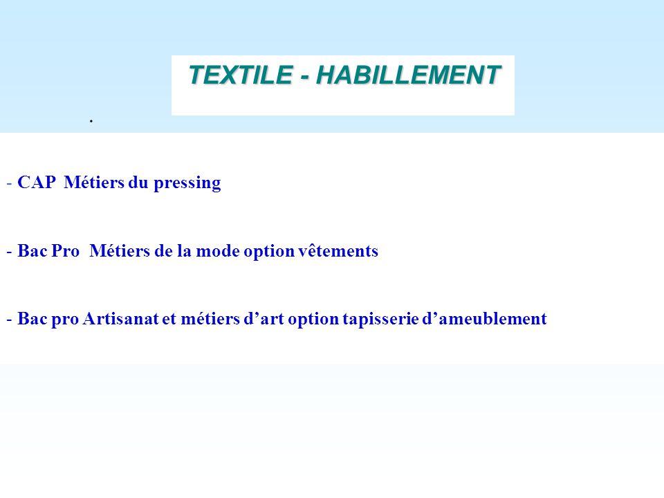 . - CAP Métiers du pressing - Bac Pro Métiers de la mode option vêtements - Bac pro Artisanat et métiers dart option tapisserie dameublement TEXTILE -
