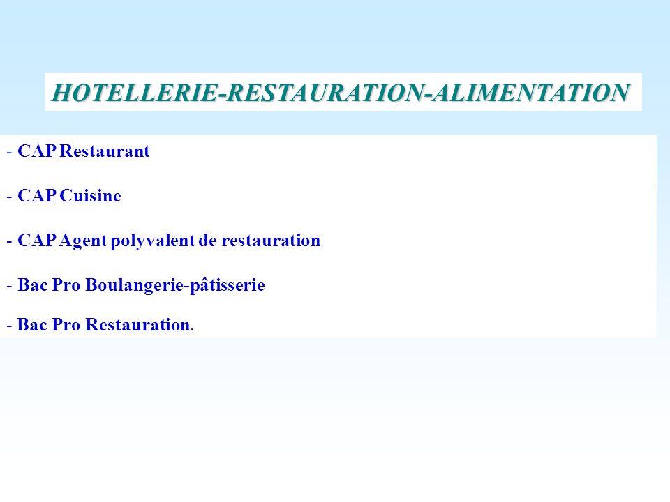 HOTELLERIE-RESTAURATION-ALIMENTATION - CAP Restaurant - CAP Cuisine - CAP Agent polyvalent de restauration - Bac Pro Boulangerie-pâtisserie - Bac Pro