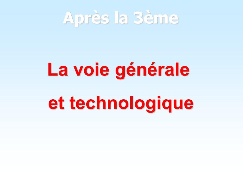 La voie générale et technologique Après la 3ème