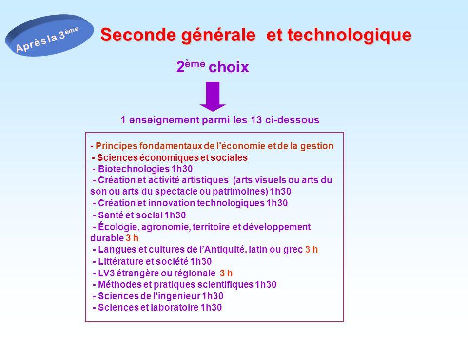 2 ème choix 1 enseignement parmi les 13 ci-dessous - Principes fondamentaux de léconomie et de la gestion - Sciences économiques et sociales - Biotech