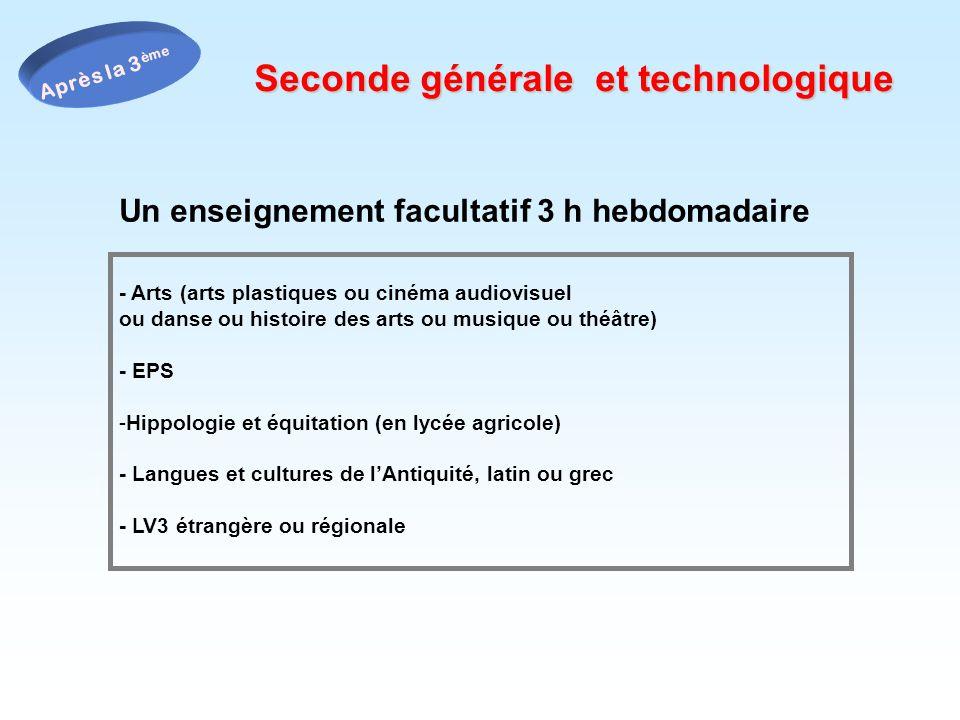 Un enseignement facultatif 3 h hebdomadaire Seconde générale et technologique - Arts (arts plastiques ou cinéma audiovisuel ou danse ou histoire des a