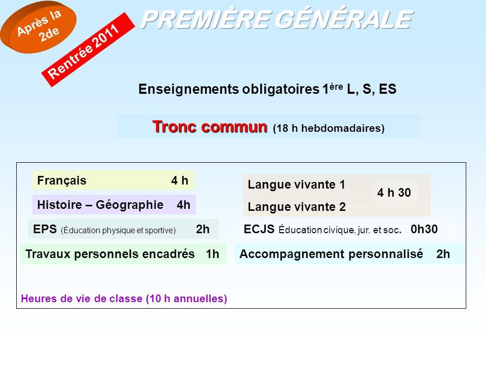 Enseignements obligatoires 1 ère L, S, ES Tronc commun Tronc commun (18 h hebdomadaires) Français 4 h Histoire – Géographie 4h EPS (Éducation physique
