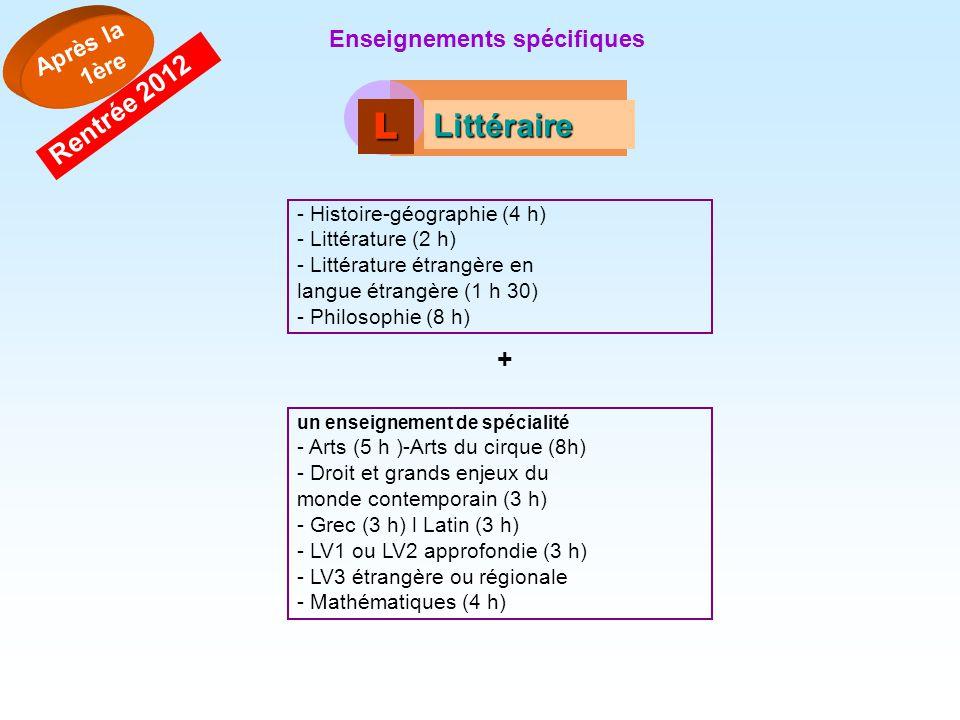 LLLL Littéraire - Histoire-géographie (4 h) - Littérature (2 h) - Littérature étrangère en langue étrangère (1 h 30) - Philosophie (8 h) + un enseigne