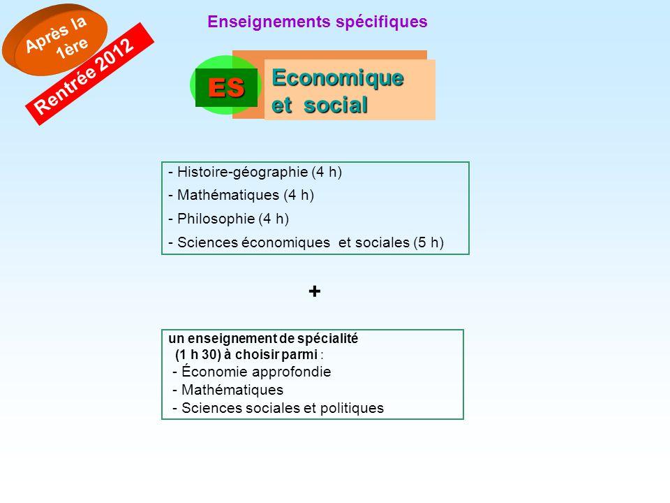 ES Economique et social Après la 1ère Rentrée 2012 - Histoire-géographie (4 h) - Mathématiques (4 h) - Philosophie (4 h) - Sciences économiques et soc