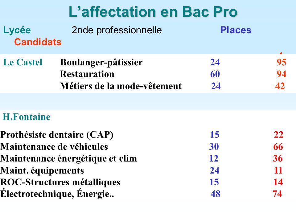 Laffectation en Bac Pro Lycée 2nde professionnelle Places Candidats 1er vœu Le Castel Boulanger-pâtissier 24 95 Restauration 60 94 Métiers de la mode-