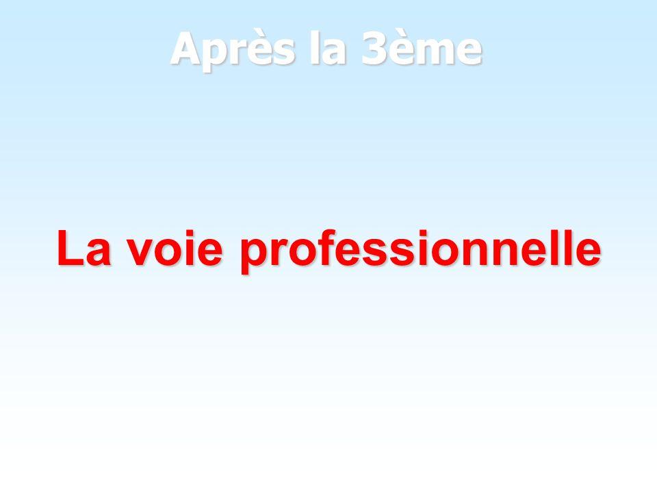 La voie professionnelle : Bac ProBEP CAP La voie professionnelle : Bac Pro-BEP- CAP Il faut : - avoir choisi un secteur professionnel précis - avoir les résultats qui permettent dêtre - avoir les résultats qui permettent dêtre sélectionné dans la section choisie sélectionné dans la section choisie Cela donne: - un diplôme qualifiant - la possibilité de poursuivre ses études