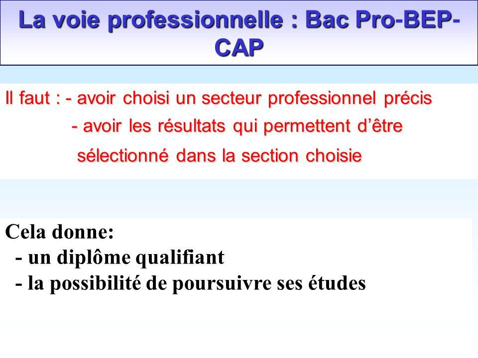 La voie professionnelle : Bac ProBEP CAP La voie professionnelle : Bac Pro-BEP- CAP Il faut : - avoir choisi un secteur professionnel précis - avoir l