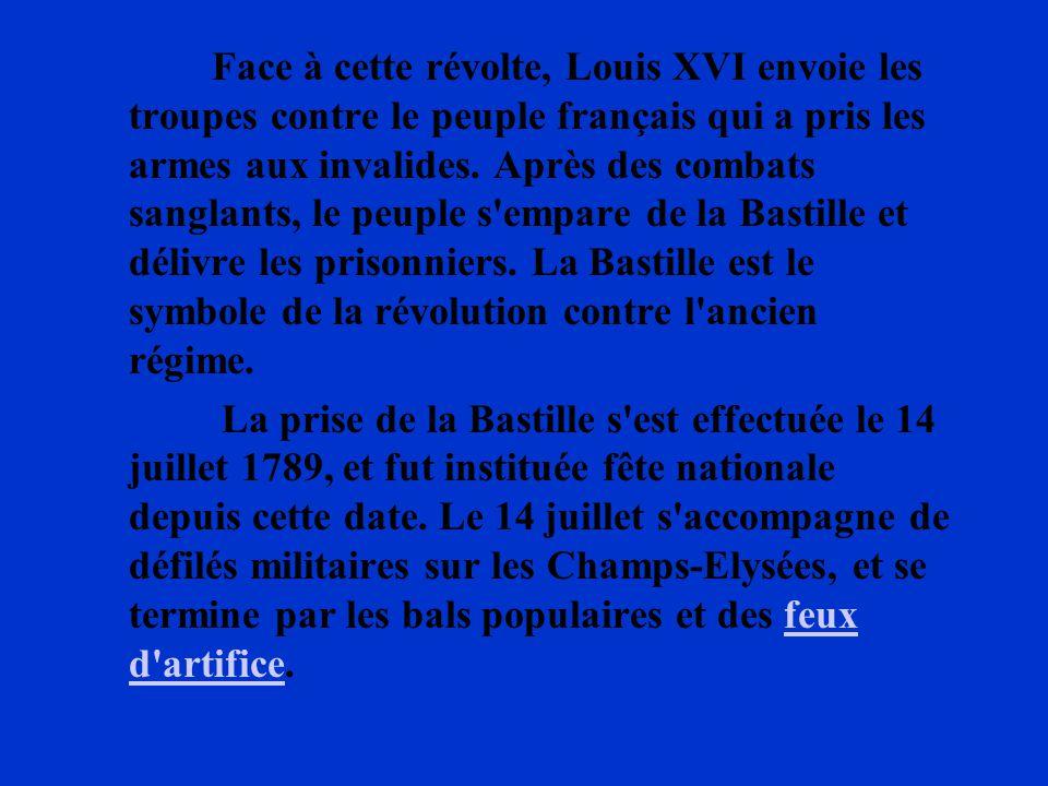 Face à cette révolte, Louis XVI envoie les troupes contre le peuple français qui a pris les armes aux invalides. Après des combats sanglants, le peupl