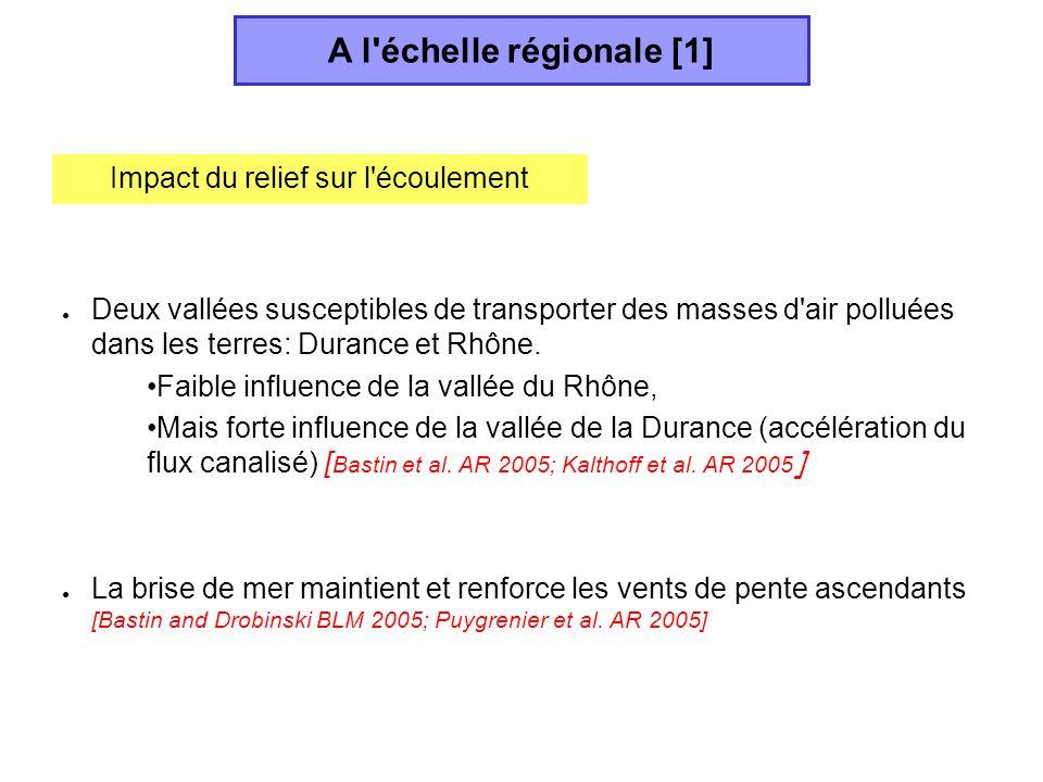 Deux vallées susceptibles de transporter des masses d'air polluées dans les terres: Durance et Rhône. Faible influence de la vallée du Rhône, Mais for