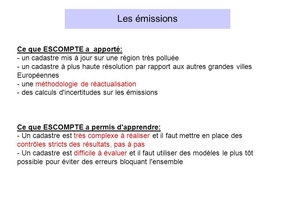 Les émissions Ce que ESCOMPTE a apporté: - un cadastre mis à jour sur une région très polluée - un cadastre à plus haute résolution par rapport aux au