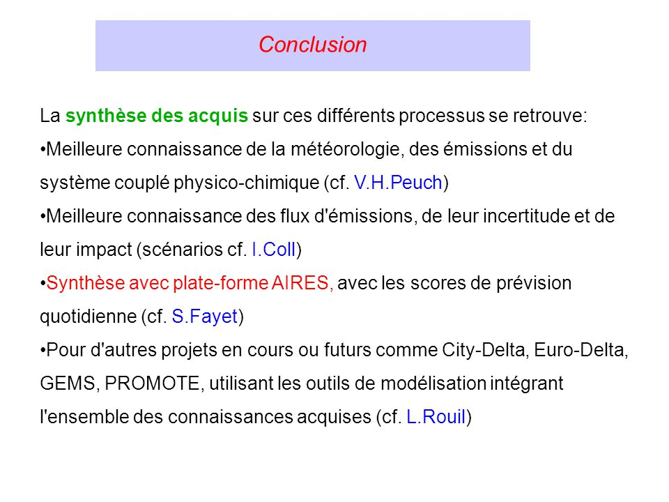 Conclusion La synthèse des acquis sur ces différents processus se retrouve: Meilleure connaissance de la météorologie, des émissions et du système couplé physico-chimique (cf.