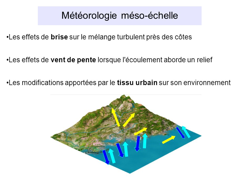 Météorologie méso-échelle Les effets de brise sur le mélange turbulent près des côtes Les effets de vent de pente lorsque l écoulement aborde un relief Les modifications apportées par le tissu urbain sur son environnement