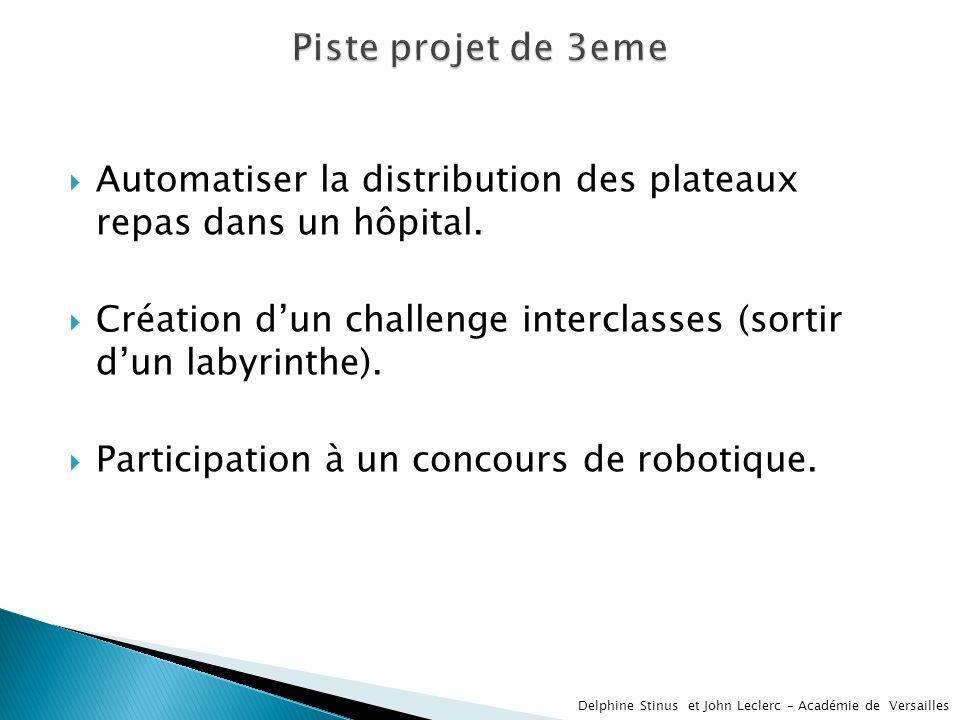 Automatiser la distribution des plateaux repas dans un hôpital. Création dun challenge interclasses (sortir dun labyrinthe). Participation à un concou