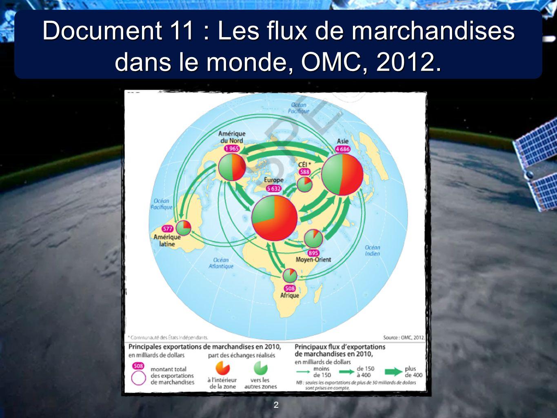 2 2 Document 11 : Les flux de marchandises dans le monde, OMC, 2012.
