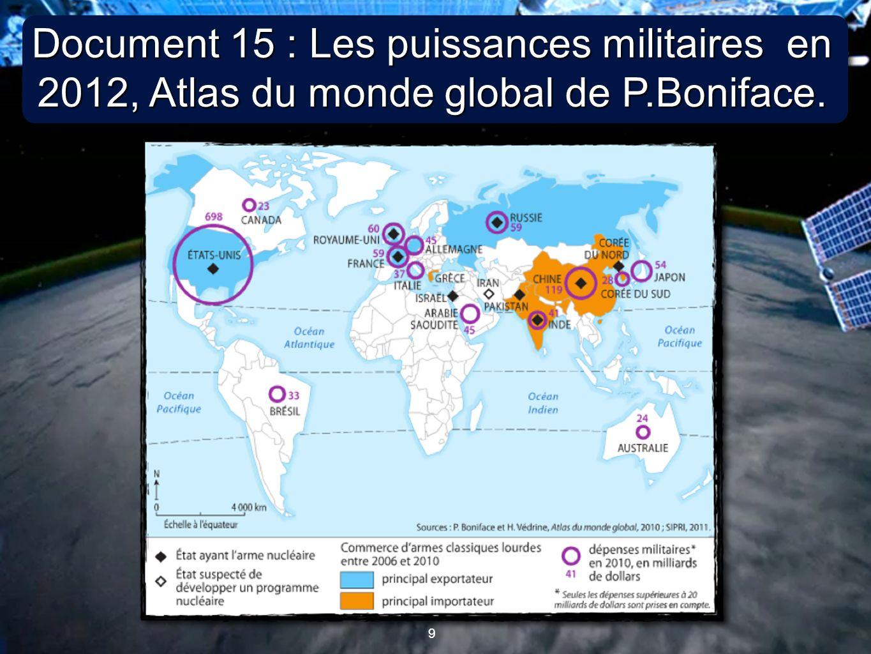 10 Document 16 : Les conflits régionaux en 2012, Atlas du monde global de P.Boniface.
