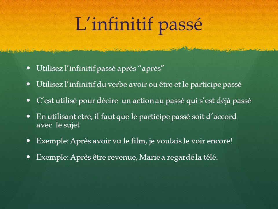 Linfinitif passé Utilisez linfinitif passé après après Utilisez linfinitif du verbe avoir ou être et le participe passé Cest utilisé pour décire un ac