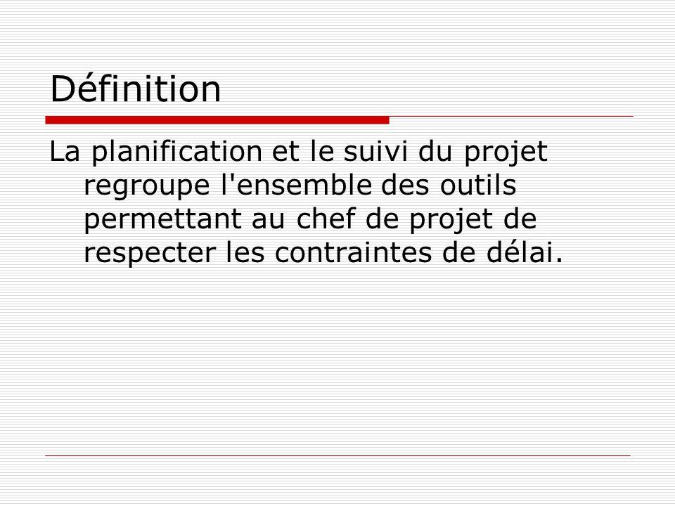 Définition La planification et le suivi du projet regroupe l ensemble des outils permettant au chef de projet de respecter les contraintes de délai.