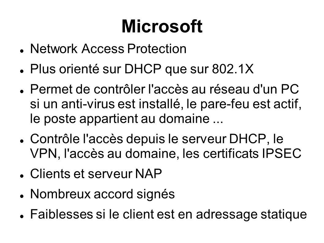 Microsoft Network Access Protection Plus orienté sur DHCP que sur 802.1X Permet de contrôler l accès au réseau d un PC si un anti-virus est installé, le pare-feu est actif, le poste appartient au domaine...