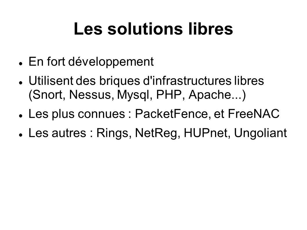 Les solutions libres En fort développement Utilisent des briques d infrastructures libres (Snort, Nessus, Mysql, PHP, Apache...) Les plus connues : PacketFence, et FreeNAC Les autres : Rings, NetReg, HUPnet, Ungoliant