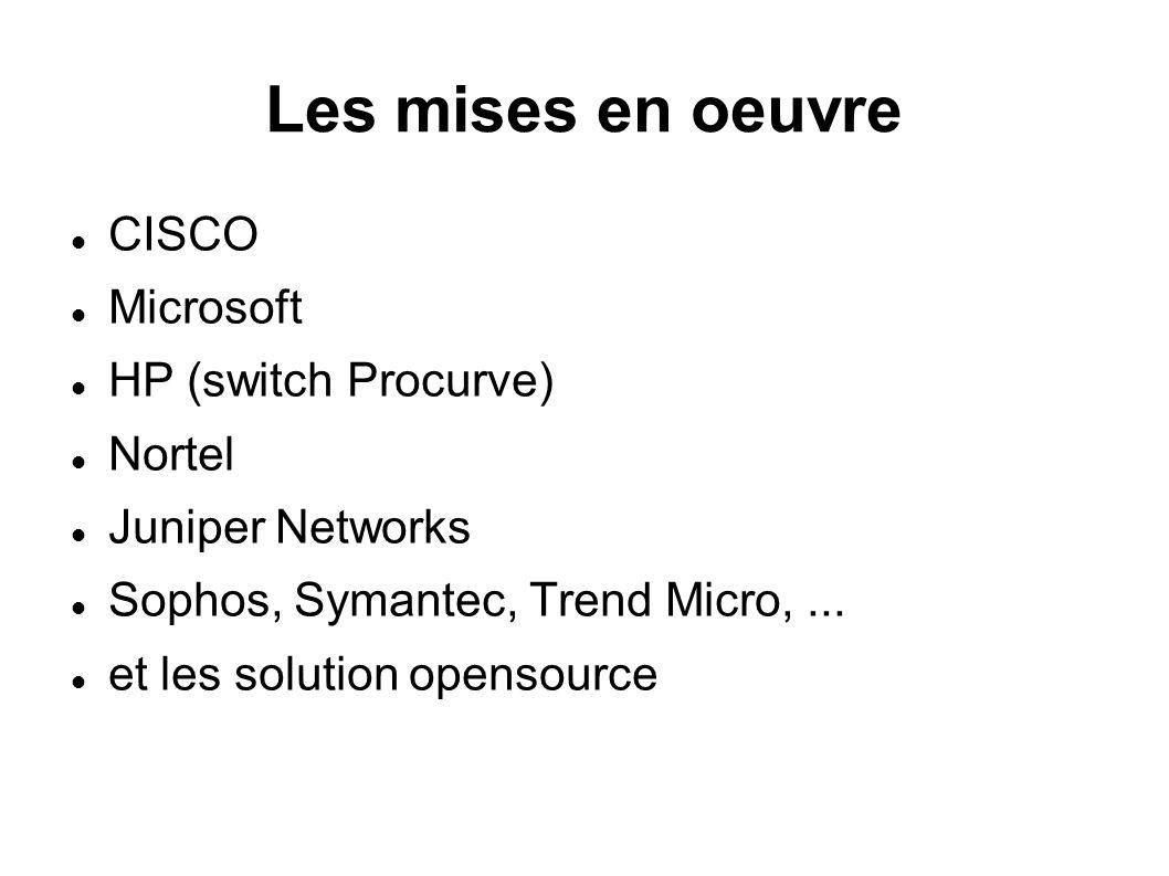 Les mises en oeuvre CISCO Microsoft HP (switch Procurve) Nortel Juniper Networks Sophos, Symantec, Trend Micro,... et les solution opensource