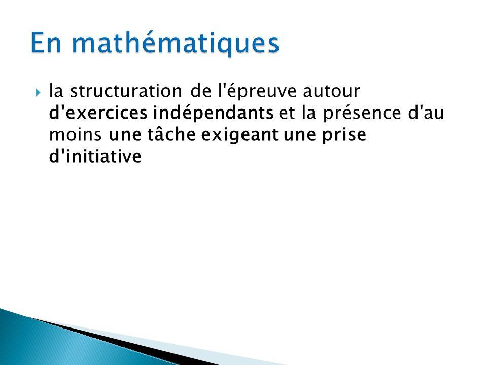 Chacune des trois disciplines fait lobjet de questions et exercices obligatoires qui composent le sujet.