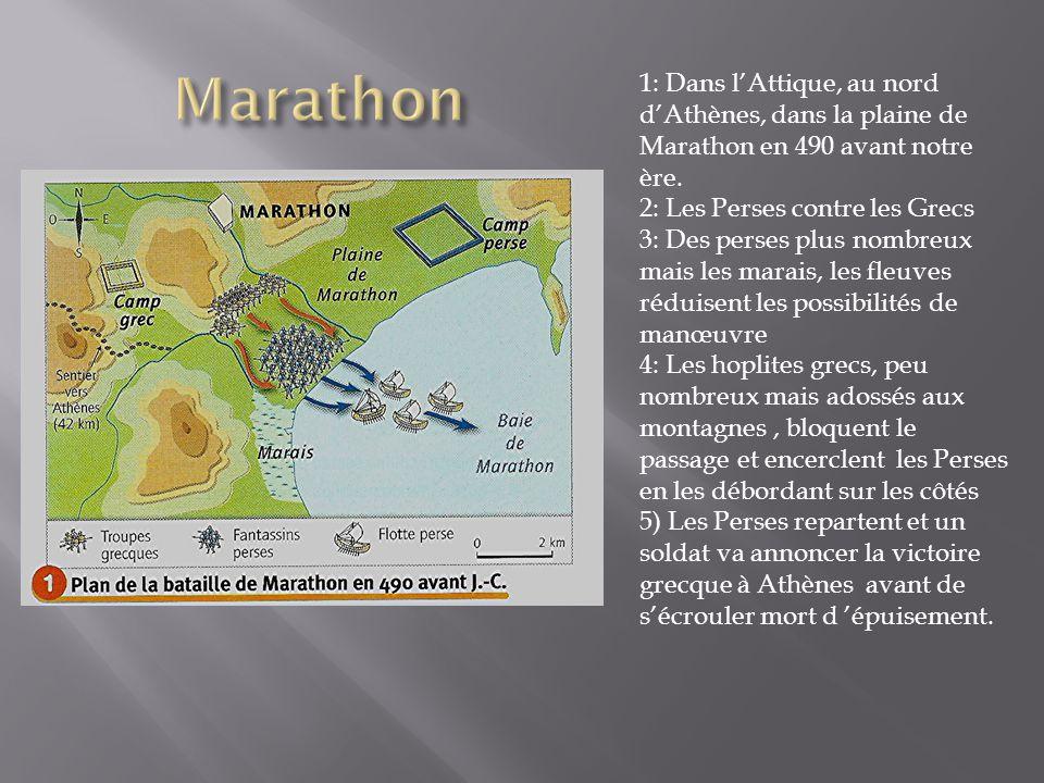 1: Dans lAttique, au nord dAthènes, dans la plaine de Marathon en 490 avant notre ère.