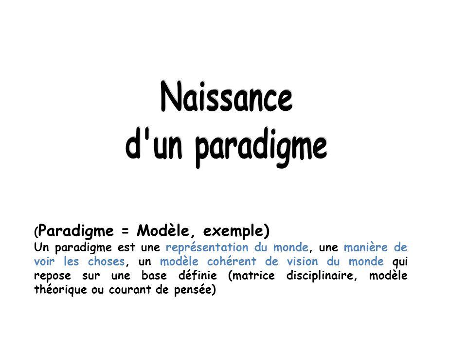 ( Paradigme = Modèle, exemple) Un paradigme est une représentation du monde, une manière de voir les choses, un modèle cohérent de vision du monde qui