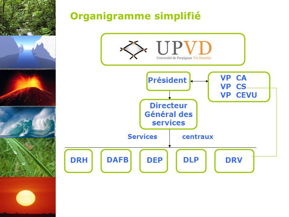 DRH Président Directeur Général des services DRV DLP DEP DAFB Services centraux VP CA VP CS VP CEVU Organigramme simplifié