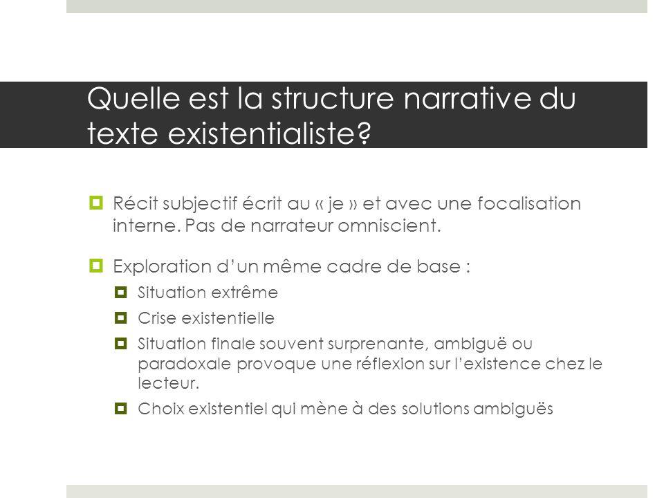 Quelle est la structure narrative du texte existentialiste? Récit subjectif écrit au « je » et avec une focalisation interne. Pas de narrateur omnisci