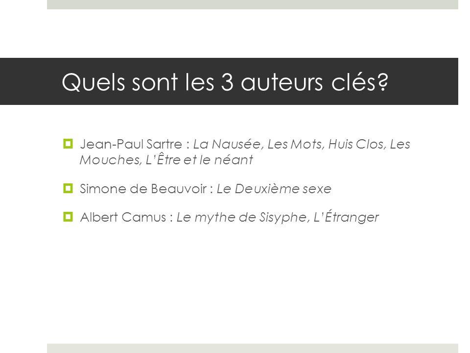 Quels sont les 3 auteurs clés? Jean-Paul Sartre : La Nausée, Les Mots, Huis Clos, Les Mouches, LÊtre et le néant Simone de Beauvoir : Le Deuxième sexe