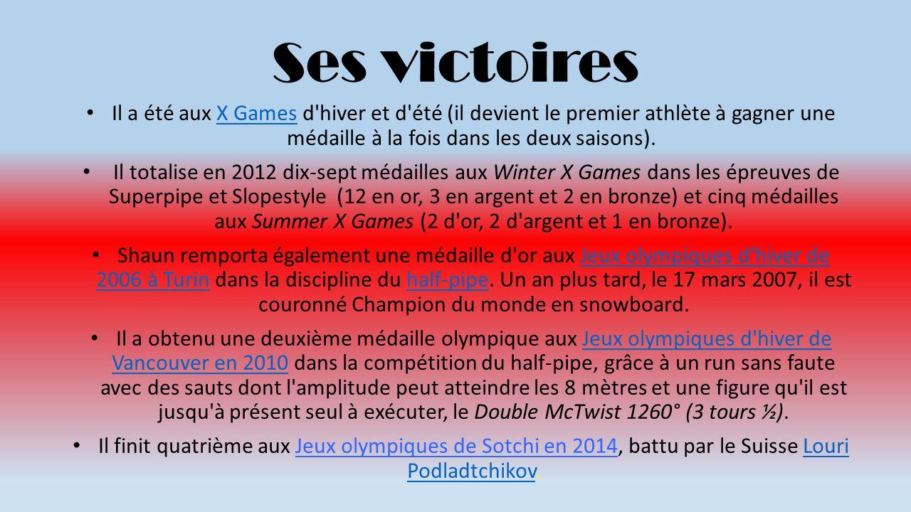 Ses victoires Il a été aux X Games d hiver et d été (il devient le premier athlète à gagner une médaille à la fois dans les deux saisons).