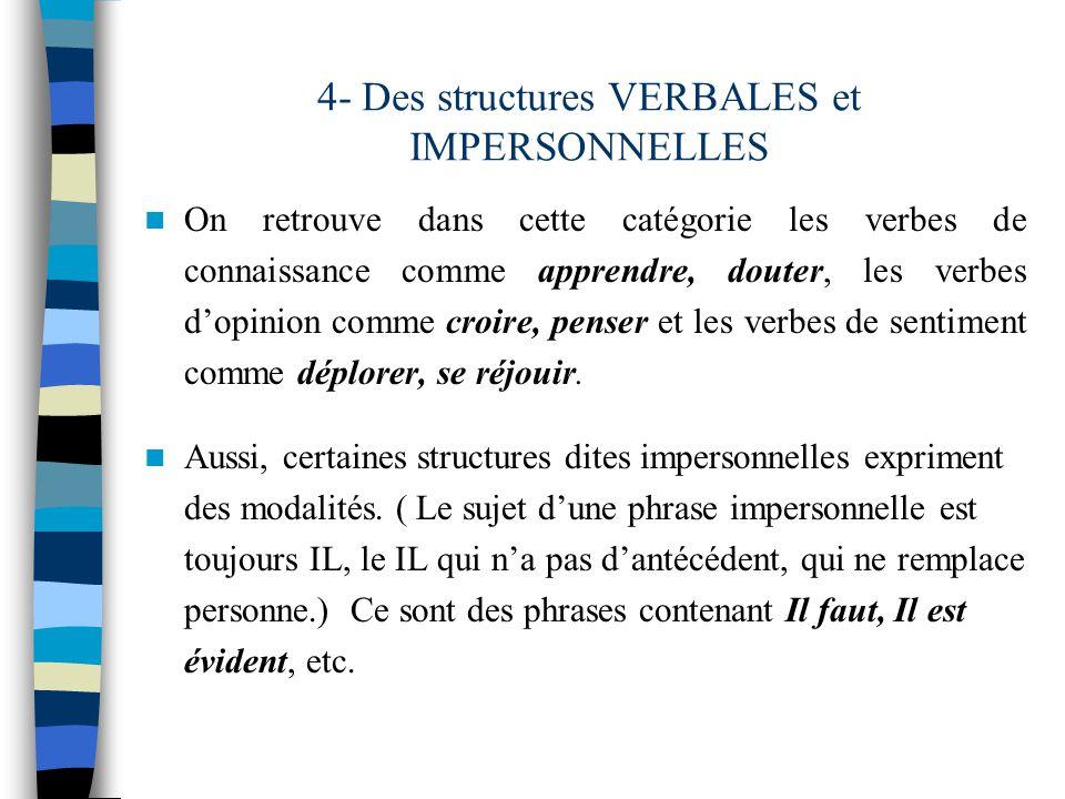 Dans les phrases suivantes, trouve les auxiliaires de modalité.