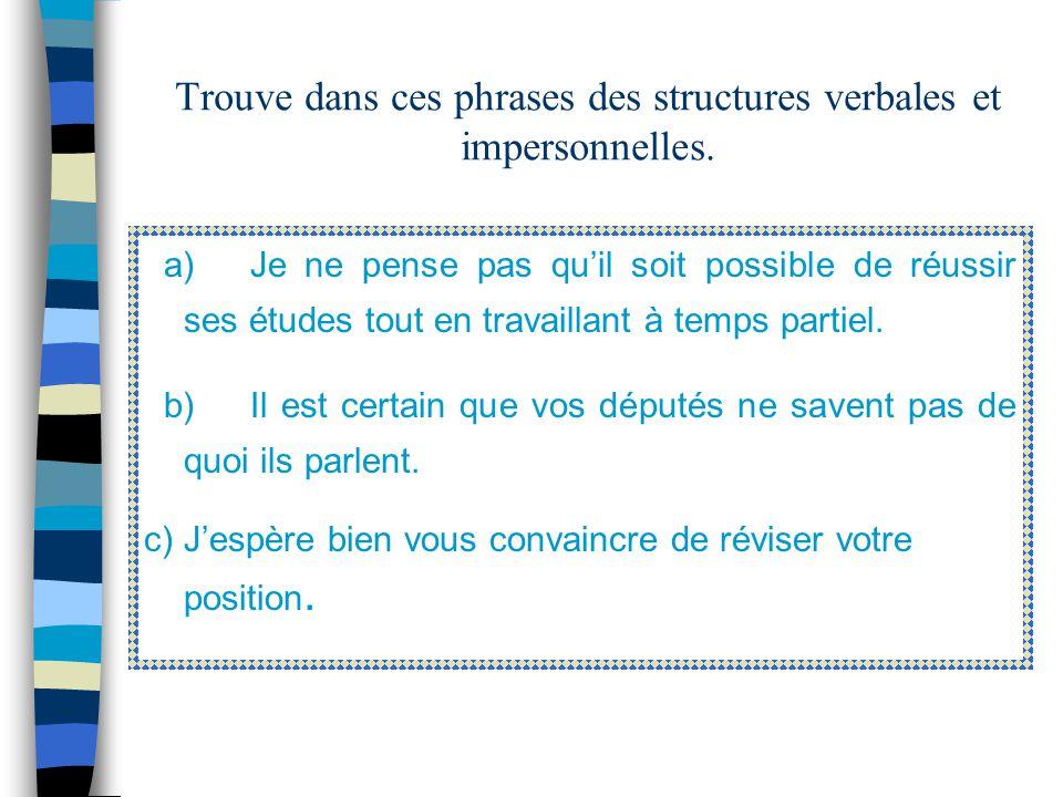 4- Des structures VERBALES et IMPERSONNELLES On retrouve dans cette catégorie les verbes de connaissance comme apprendre, douter, les verbes dopinion