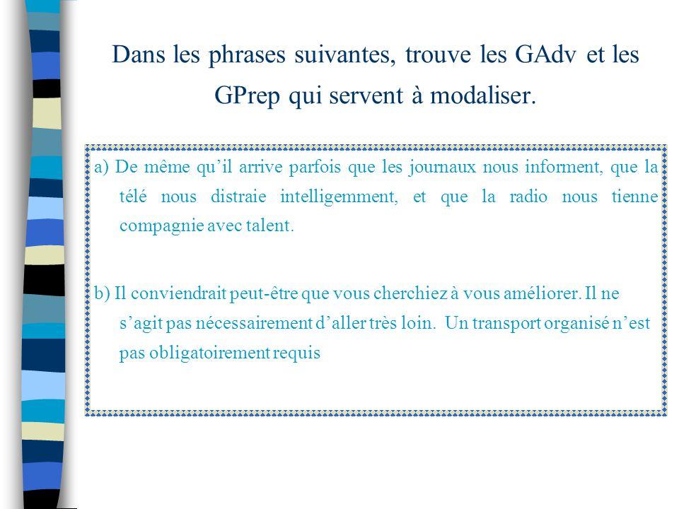 7- les Gadv et Gprep Plusieurs adverbes et groupes prépositionnels servent à modaliser en exprimant une évaluation, une certitude ou une probabilité.