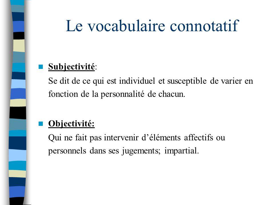 Le vocabulaire connotatif Les interjections ( hélas!, attention!, etc.) et bon nombre de mots, dadjectifs, dadverbes ou de verbes peuvent être connotés.