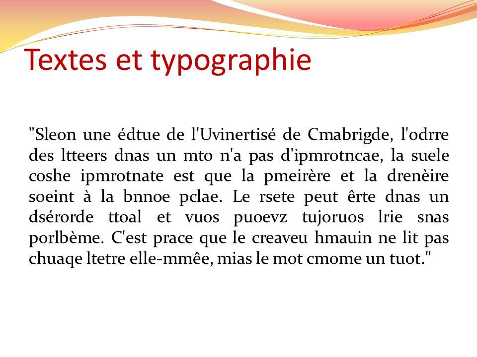 Textes et typographie Sleon une édtue de l Uvinertisé de Cmabrigde, l odrre des ltteers dnas un mto n a pas d ipmrotncae, la suele coshe ipmrotnate est que la pmeirère et la drenèire soeint à la bnnoe pclae.