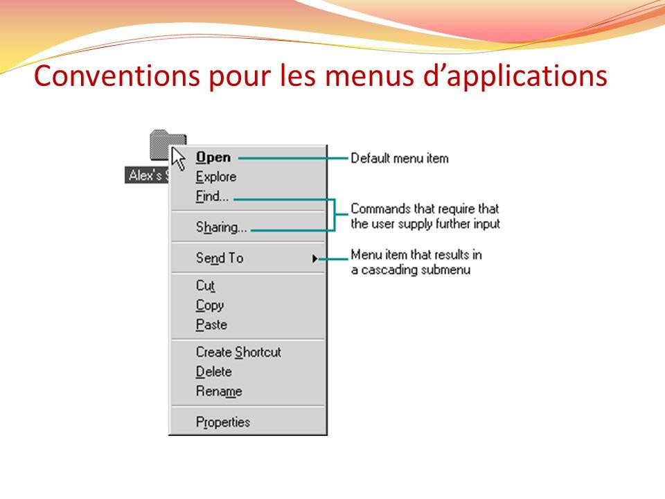 Conventions pour les menus dapplications