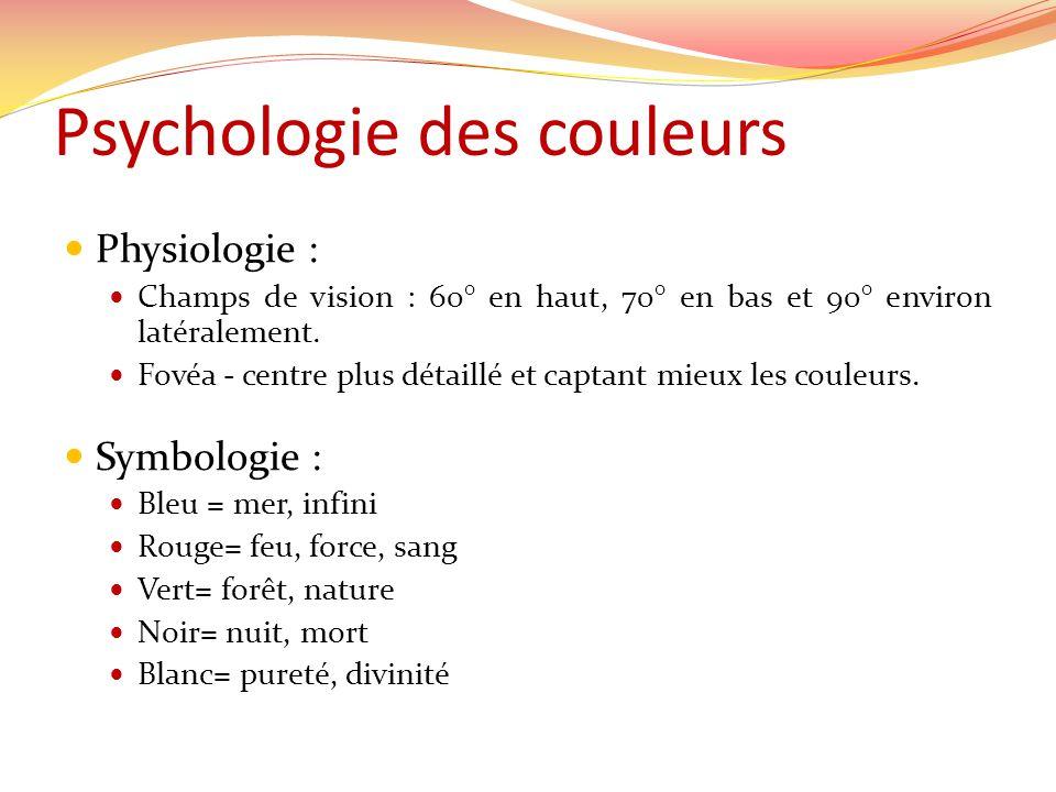 Psychologie des couleurs Physiologie : Champs de vision : 60° en haut, 70° en bas et 90° environ latéralement.