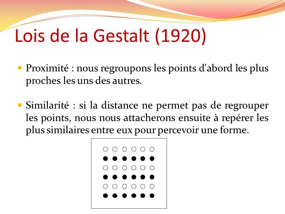 Lois de la Gestalt (1920) Proximité : nous regroupons les points d abord les plus proches les uns des autres.