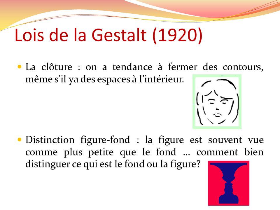 Lois de la Gestalt (1920) La clôture : on a tendance à fermer des contours, même sil ya des espaces à lintérieur.
