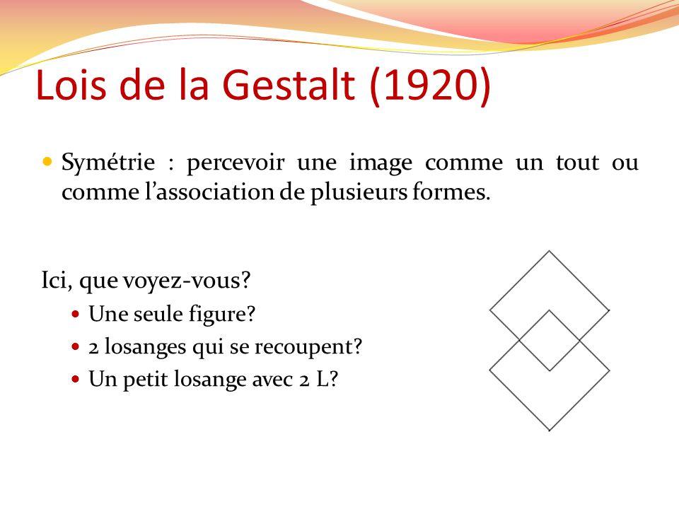 Lois de la Gestalt (1920) Symétrie : percevoir une image comme un tout ou comme lassociation de plusieurs formes.