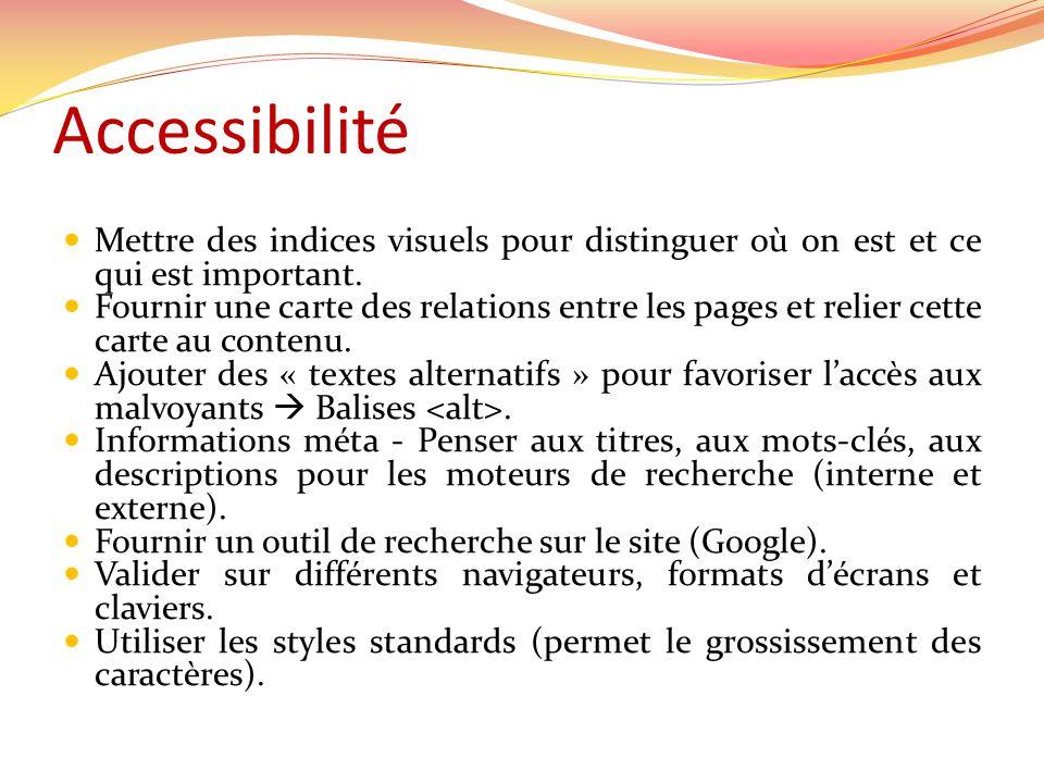 Accessibilité Mettre des indices visuels pour distinguer où on est et ce qui est important.