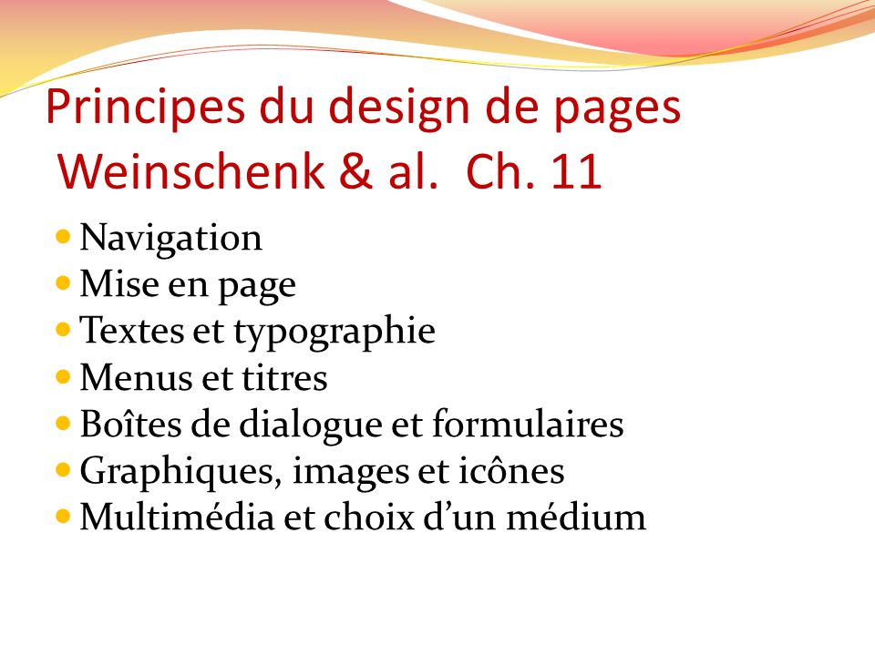 Principes du design de pages Weinschenk & al. Ch.