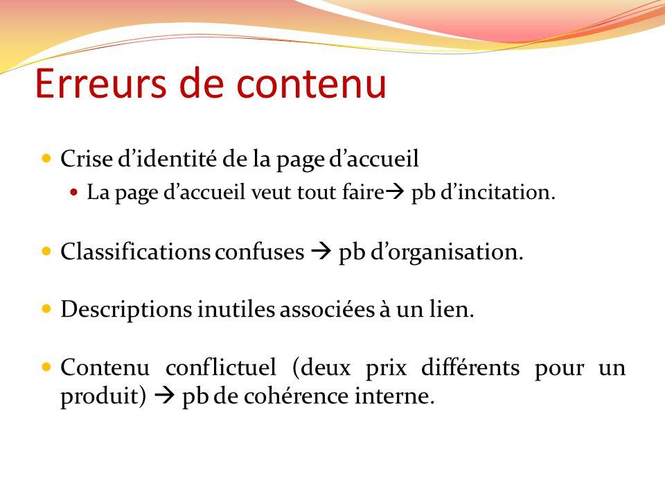 Erreurs de contenu Crise didentité de la page daccueil La page daccueil veut tout faire pb dincitation.