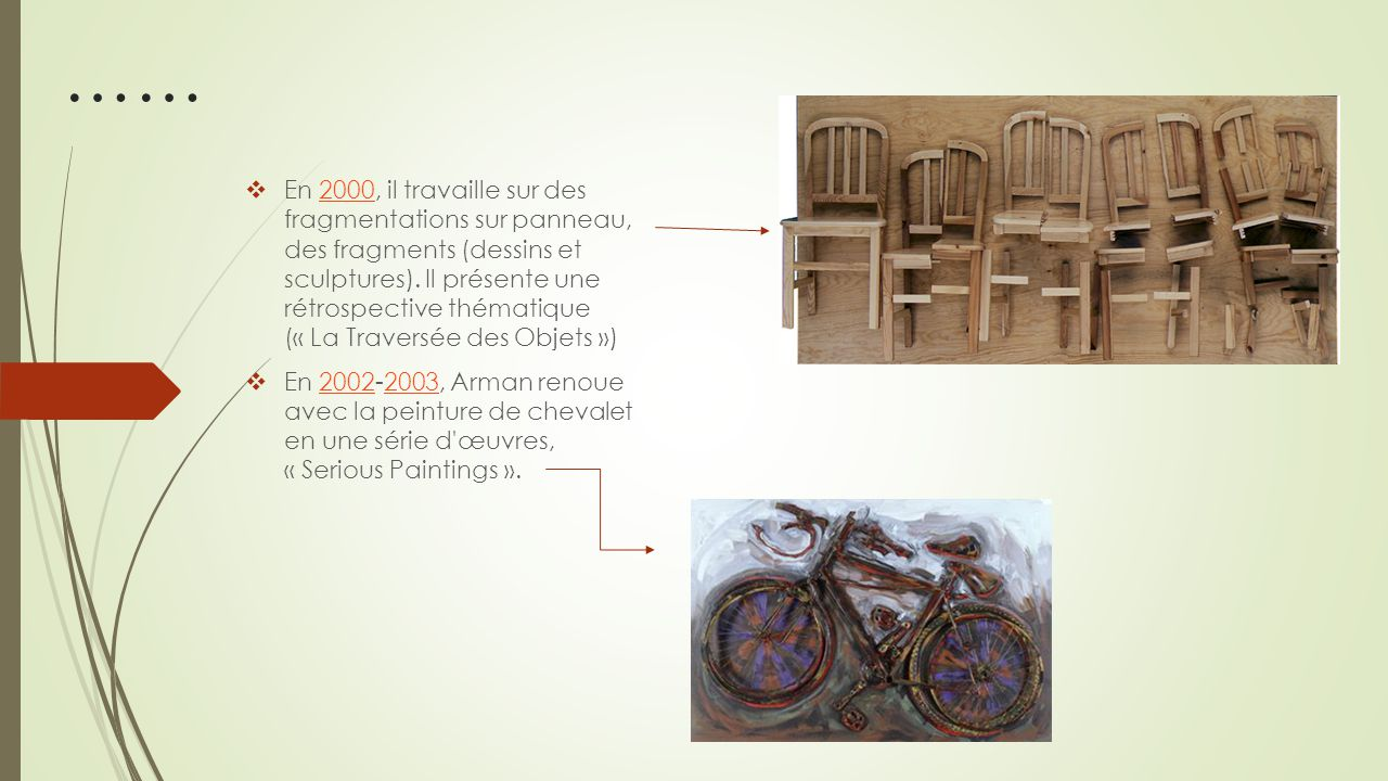 1982 : il crée Long Term Parking 1 de l ex- Fondation Cartier à Jouy-en-Josas, une tour de 19,50 m constituée de véritables automobiles superposées les unes sur les autres, coulées dans le béton.Long Term Parking 1Jouy-en-Josasautomobilesbéton 1992 : accumulation de fourchettes géantes en bronze à Roanne.fourchettesRoanne 1999 : une accumulation de voitures Ferrari en bronze rouge, coupées et superposées La RampanteFerrariLa Rampante Quelques œuvres…: