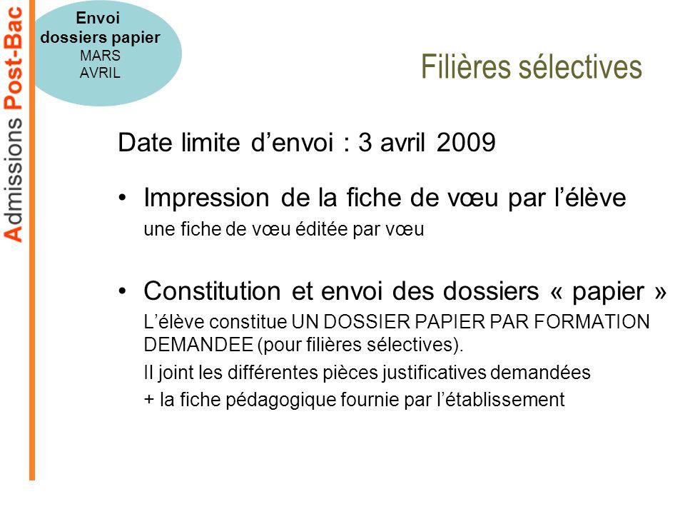 Date limite denvoi : 3 avril 2009 Impression de la fiche de vœu par lélève une fiche de vœu éditée par vœu Constitution et envoi des dossiers « papier