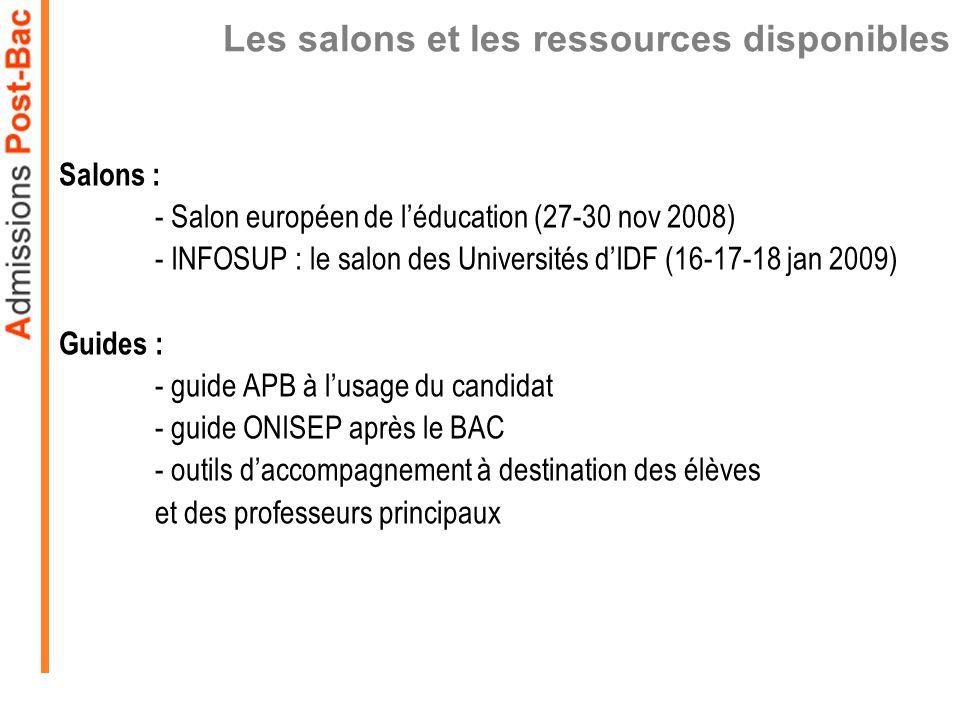 Les salons et les ressources disponibles Salons : - Salon européen de léducation (27-30 nov 2008) - INFOSUP : le salon des Universités dIDF (16-17-18