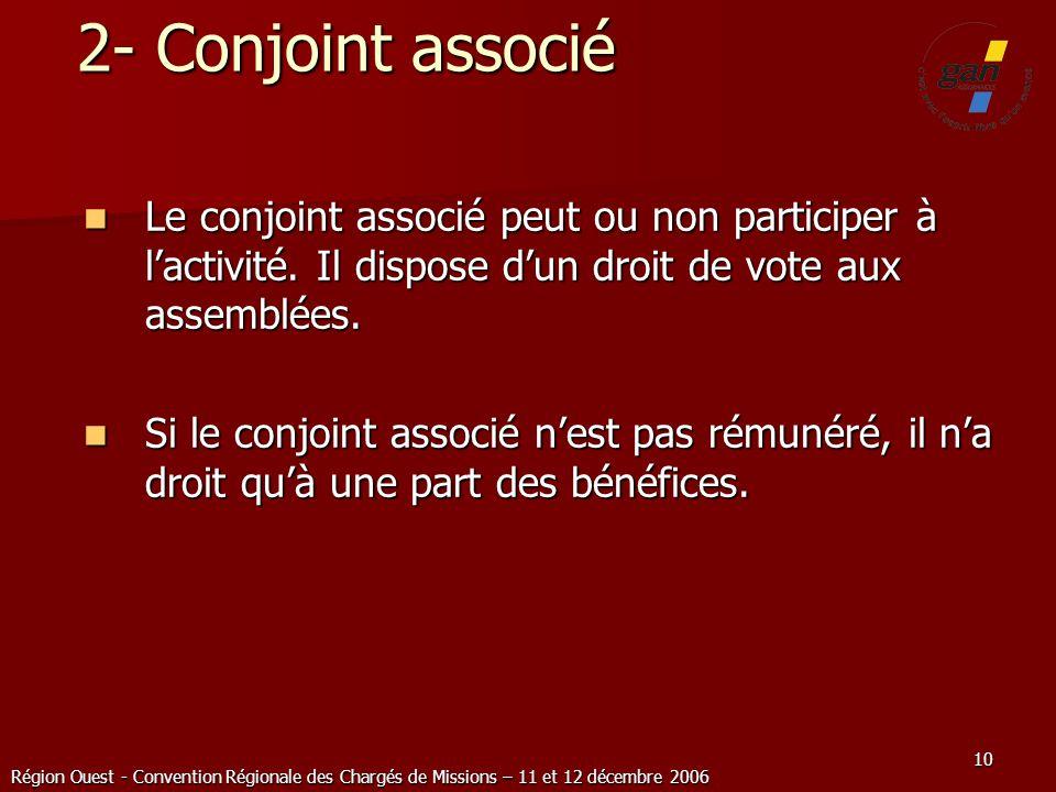 Région Ouest - Convention Régionale des Chargés de Missions – 11 et 12 décembre 2006 10 2- Conjoint associé Le conjoint associé peut ou non participer