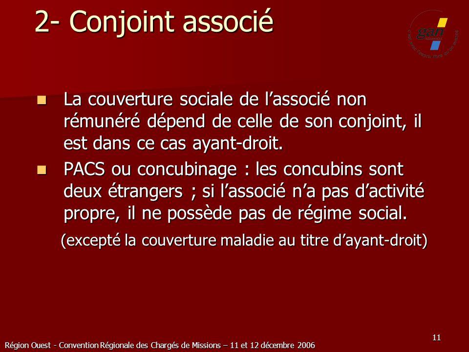 Région Ouest - Convention Régionale des Chargés de Missions – 11 et 12 décembre 2006 11 2- Conjoint associé La couverture sociale de lassocié non rému