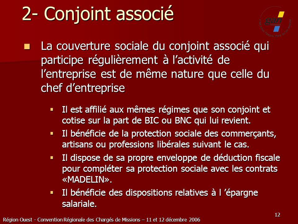 Région Ouest - Convention Régionale des Chargés de Missions – 11 et 12 décembre 2006 12 2- Conjoint associé La couverture sociale du conjoint associé
